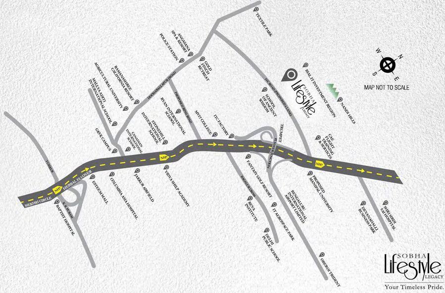 Sobha Lifestyle Legacy Location Map