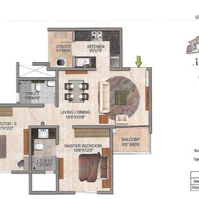 prestige-jindal-city-2-bhk-floor-plan