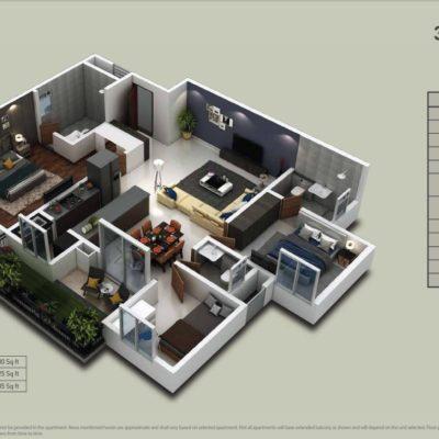 Purva-zenium-2-bedroom-floor-plan